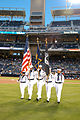 US Navy 070921-N-8878B-018 Sailors assigned to Tactical Air Control Squadron (TACRON) 12 present the colors during the national anthem before a game between the San Diego Padres and Colorado Rookies at Petco Park.jpg