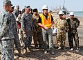 US Navy 090930-N-7088A-264 Maj. Gen. Michael Barbero, the incoming commander for the Multi-National Security Transition Command-Iraq (MNSTC-I), visits the construction site of a pier with Samuel Pelant, managing director of Pol.jpg