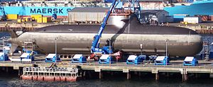 Air-independent propulsion - Type 212 submarine with fuel cell propulsion of the German Navy in dock