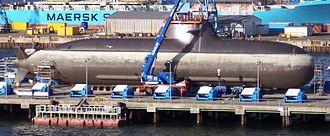 Type 212 submarine with fuel cell propulsion of the German Navy in dock
