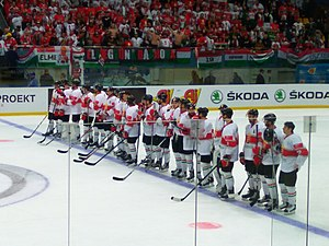 Hungary men's national ice hockey team - The Hungarian team during the 2017 World Championship Division IA tournament in Ukraine.