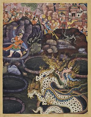 Daswanth - Umar Defeats a Dragon, from the epic Hamzanama manuscript