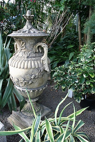 Garden ornament - Garden Ornament: a classical Urn at Palm House, the Belfast Botanic Gardens, Northern Ireland.