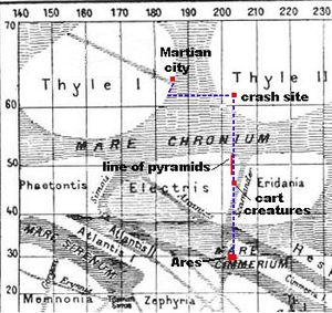 """Valley of Dreams - Jarvis and Leroy's flight across Mars in """"Valley of Dreams"""" (south is at the top of the map)."""
