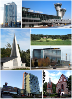 Clockwise from top-left: Kielotorni in Tikkurila, Helsinki Airport, Sotunki, Flamingo and Jumbo shopping centers, The Church of St. Lawrence, a shopping center in Martinlaakso, and the Vaarala Church.