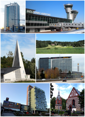 Clockwise from top-left: Kielotorni in Tikkurila, Helsinki Airport, Sotunki, Flamingo and Jumbo shopping centers, The Church of St. Lawrence, Ostari shopping center in Martinlaakso, and the Vaarala Church.