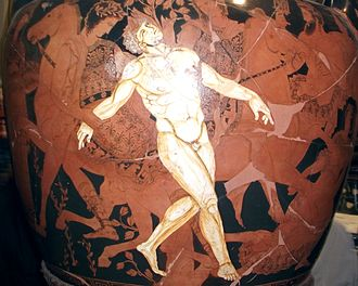 Talos - The death of Talos depicted on a 4th-century BCE krater now in the Jatta National Archaeological Museum in Ruvo di Puglia.