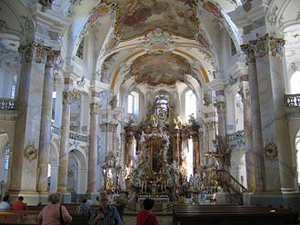 Basilica of the Fourteen Holy Helpers - The altar depicts the Fourteen Holy Helpers.