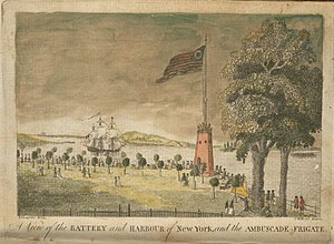 "Evacuation Day (New York) - View of the commemorative flagpole at the Battery in its ""gigantic churn"", during a visit by the French frigate ''Embuscade'' (shortly before the Action of 31 July 1793)."