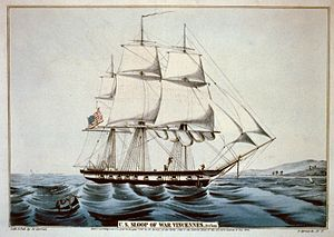 USS Vincennes (1826) - A colored lithograph of the USS Vincennes