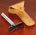Vintage Self Sharp Adjustable DE Safety Razor With Leather Pouch, No Manufacturer Markings On Razor, Label On The Pouch Reads Self Sharp Razor Co., Turloc, California (39471531442).jpg