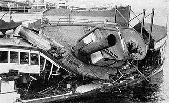 Virginia V - Heavy damage to Virginia V caused by October 1934 storm.