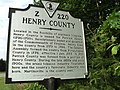 Virginia state historical marker Henry County Virginia.JPG