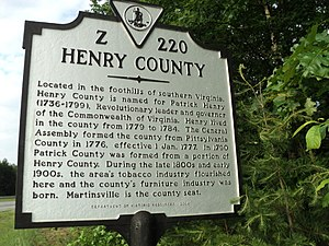 Henry County, Virginia - Virginia state historical marker for Henry County
