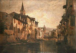 Vittorio Avanzi - Il Canale dell'Acqua Morta of Verona, Museum of Castelvecchio.