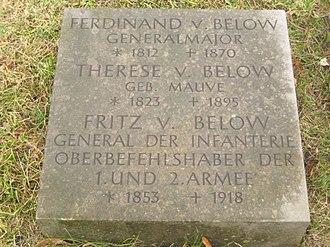 Fritz von Below - Below's tomb at Berlin Invalidenfriedhof Cemetery