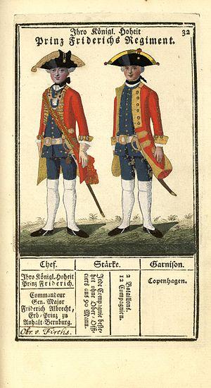 """Prince's Life Regiment - """"Ihre Königl. Hoheit Prinz Friderichs Regiment"""" - illustration from 1763"""