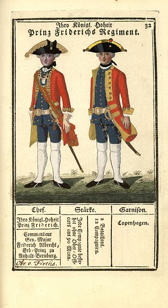 "Prince's Life Regiment - ""Ihre Königl. Hoheit Prinz Friderichs Regiment"" - illustration from 1763"