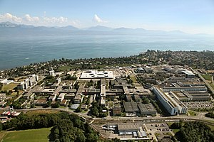Education in Switzerland - The campus of the École polytechnique fédérale de Lausanne (EPFL) and the University of Lausanne, at the shores of Lake Geneva.