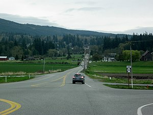 Washington State Route 534 - Looking eastbound on SR 534 from its western terminus, I-5 in Conway.