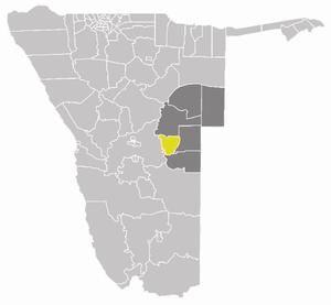 Gobabis Constituency - Gobabis Constituency (yellow) in the Omaheke Region (dark grey)