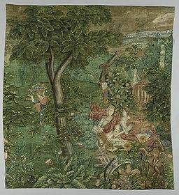 Wandbespanning van grove jute met voorstelling van Diana in boslandschap Rijksmuseum Amsterdam BK-NM-10937-B