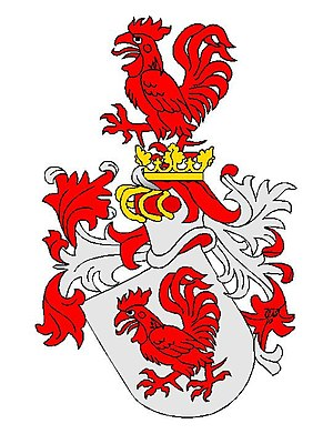Von Hahn - Arms of the Hahn families, Striding red rooster on the silver (white) shield, incorporated into Courland and Öesel Nobility Corporations