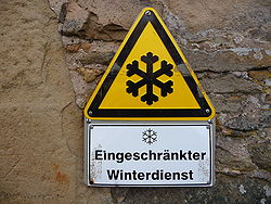 warning sign for limited winter service