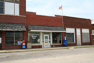 Weldon, Illinois - Post Office and Moore's Hardware in Weldon.