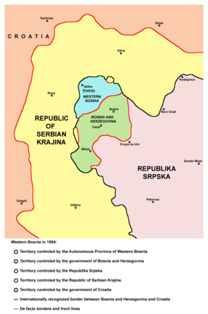 Siege of Bihać - Map of the Bihać enclave (under the control of the Bosnian-Herzegovinian government), surrounded by the Republic of Serbian Krajina (in the northwest), the Autonomous Province of Western Bosnia (to the north) and the Republika Srpska (to the southeast)