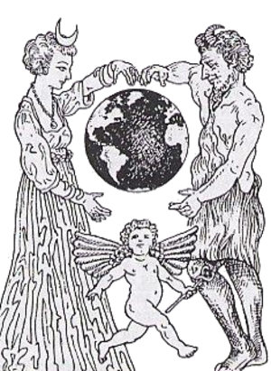 Wiccan views of divinity - The divine couple in Wicca, with the Lady as Diana, the moon goddess, and the Lord as Pan, the horned god of the wild Earth. The lower figure is Mercury or Hermes, the god or divine force of magic - as shown by his wings and caduceus.