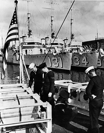 American and British sailors examine depth charges. In the background are US Wickes-class destroyers before their transfer Wickes class destroyers before transfer to the UK 1940.JPG