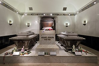 Imperial Crypt - Tomb of Franz Joseph I, flanked by his wife Elisabeth and son Rudolf