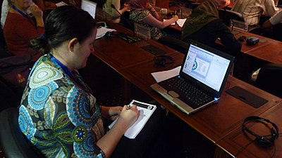 Wikimania 2008 Brianna Laugher working hard at talk.jpg