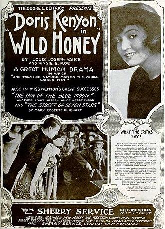 Vingie E. Roe - Advertisement for Wild Honey (1918), crediting Vingie E. Roe as co-writer