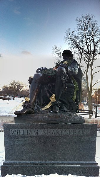 A recently garlanded statue of William Shakespeare in Lincoln Park, Chicago, typical of many created in the 19th and early 20th century William Shakespeare Statue in Lincoln Park.JPG