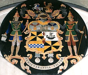 Sir Archibald Campbell, 1st Baronet - Heraldic achievement of the Campbell Baronets of Nova Scotia, as displayed on the memorial of Major General Sir John Campbell, 2nd Baronet (1807–1855) in Winchester Cathedral.