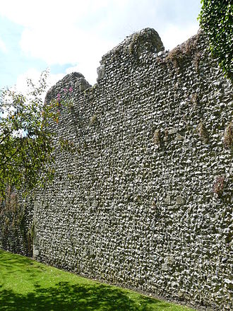 History of Anglo-Saxon England - The walled defence round a burgh. Alfred's capital, Winchester. Saxon and medieval work on Roman foundations.
