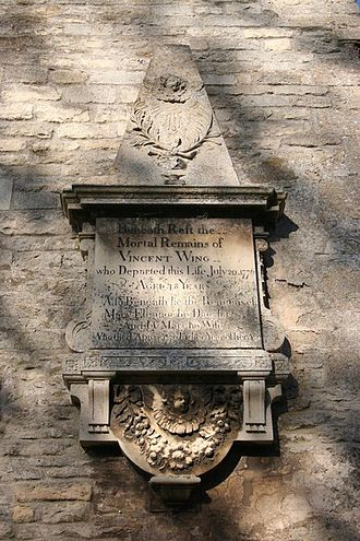 Vincent Wing - Memorial to Vincent Wing (1727–1776) at Great Casterton church