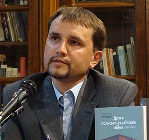 Volodymyr Viatrovych - Volodymyr Viatrovych with a copy of his sixth book The second Polish-Ukrainian War, 1942-1947 (2011)