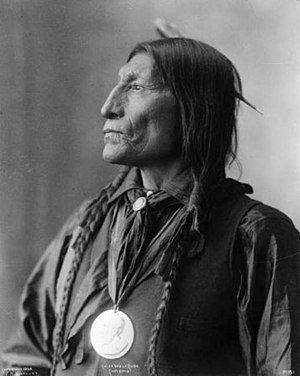 Supraorbital ridge - Native American man with pronounced brow ridge and sloping forehead.