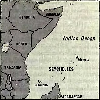1981 Seychelles coup d'état attempt - 1982 CIA map of East Africa with Seychelles in the center