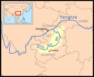 Wu River (Yangtze tributary) - Image: Wujiangrivermap