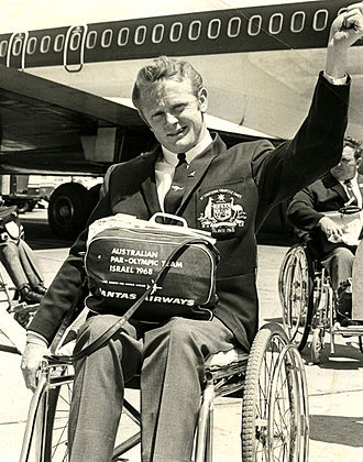 Australia at the 1968 Summer Paralympics - Jeff Simmonds on tarmac before departing for Tel Aviv 1968