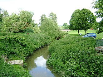 River Teise - Lesser Teise nearing the River Medway near Yalding (Twyford Bridge in the distance)