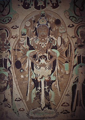 Nīlakaṇṭha Dhāraṇī - A Tang period depiction of the thousand-armed Avalokiteśvara from the Yulin Caves, Gansu Province, China.