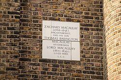 Photo of Zachary Macaulay and Thomas Babington Macaulay white plaque