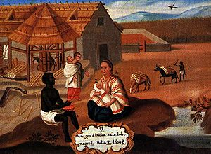 "A representation of a Zambo, in a ""Pintura de Castas"" during the Spanish colonial period of the Americas. The painting illustrates ""an African and Amerindian produced a Zambo""."