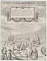 Zeilwagen van Simon Stevin (linkerplaat), 1602 Currus veliferi illustrissimi principis Mauritii volitantes duabus horis Scheverina Pettemum ad quatuordecim milliaria Hollandica, quae singula iustae horae iter excedunt (, RP-P-OB-70.165.jpg