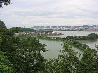 Zhaoqing - Panorama view of Duanzhou District and Seven Star Crags